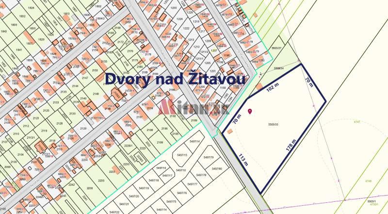 predaj, pozemok, Dvory nad u017ditavou, okres Novu00e9 Zu00e1mky